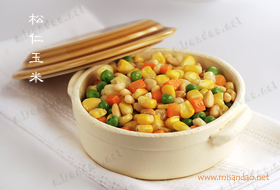 Stir Fried Sweet Corn with Pine Nuts